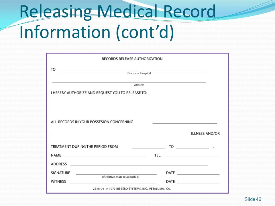 Releasing Medical Record Information (cont'd)