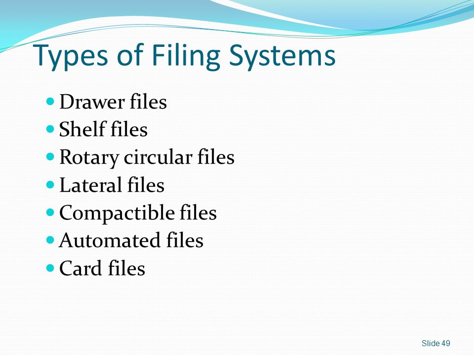Types of Filing Systems