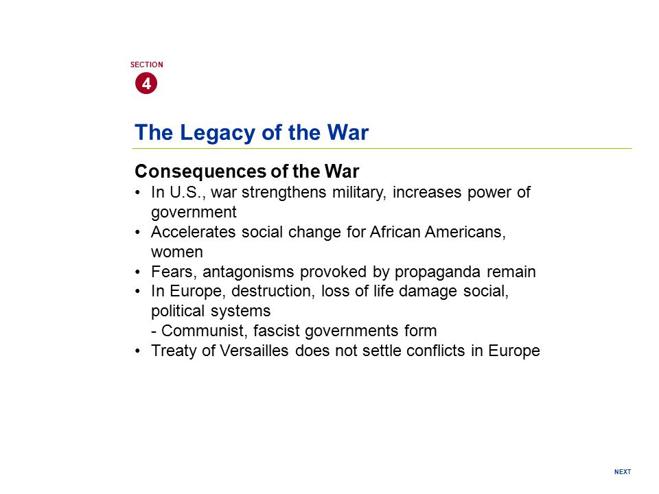 The Legacy of the War Consequences of the War 4