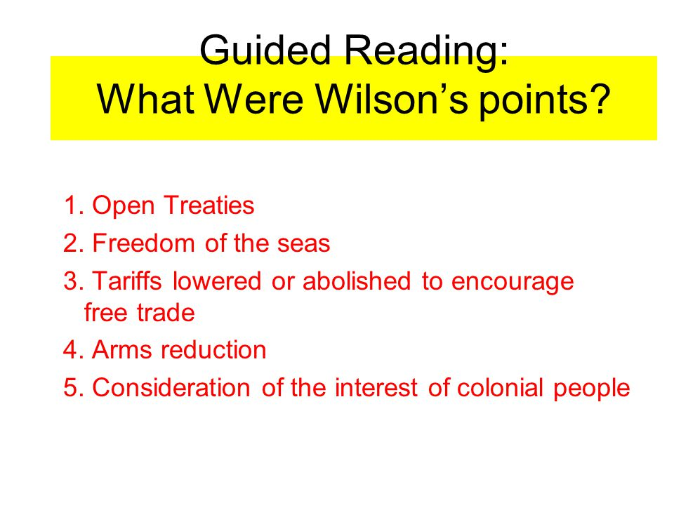 Guided Reading: What Were Wilson's points
