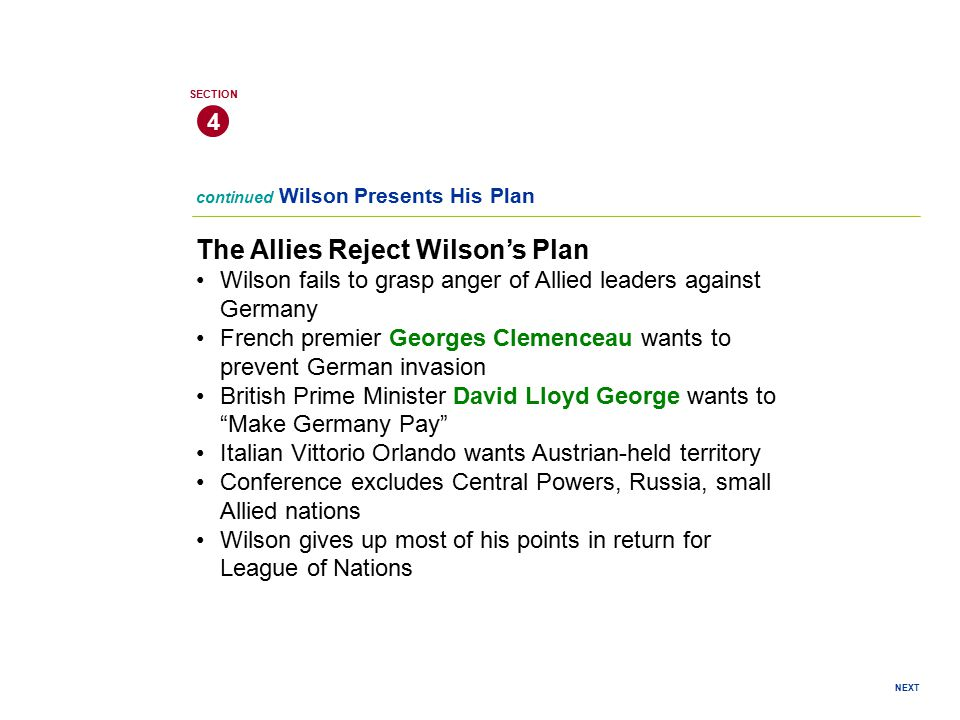 The Allies Reject Wilson's Plan