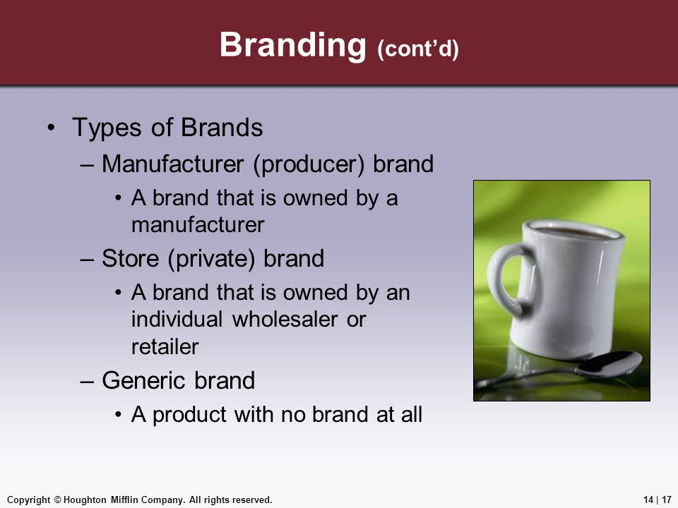 Branding (cont'd) Types of Brands Manufacturer (producer) brand