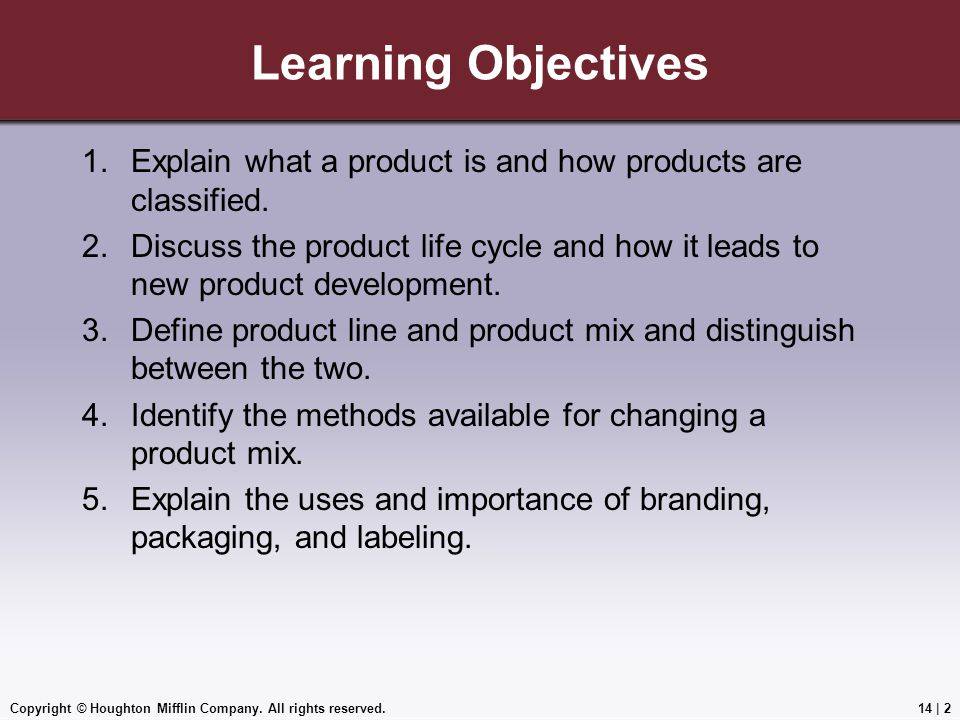 Learning Objectives Explain what a product is and how products are classified.