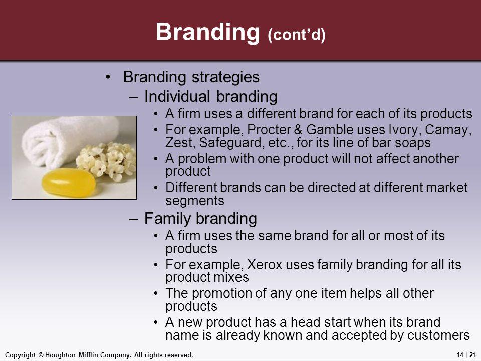 Branding (cont'd) Branding strategies Individual branding