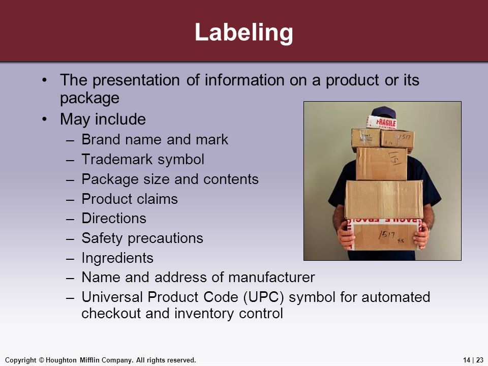 Labeling The presentation of information on a product or its package