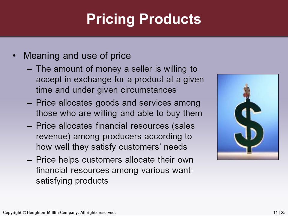 Pricing Products Meaning and use of price