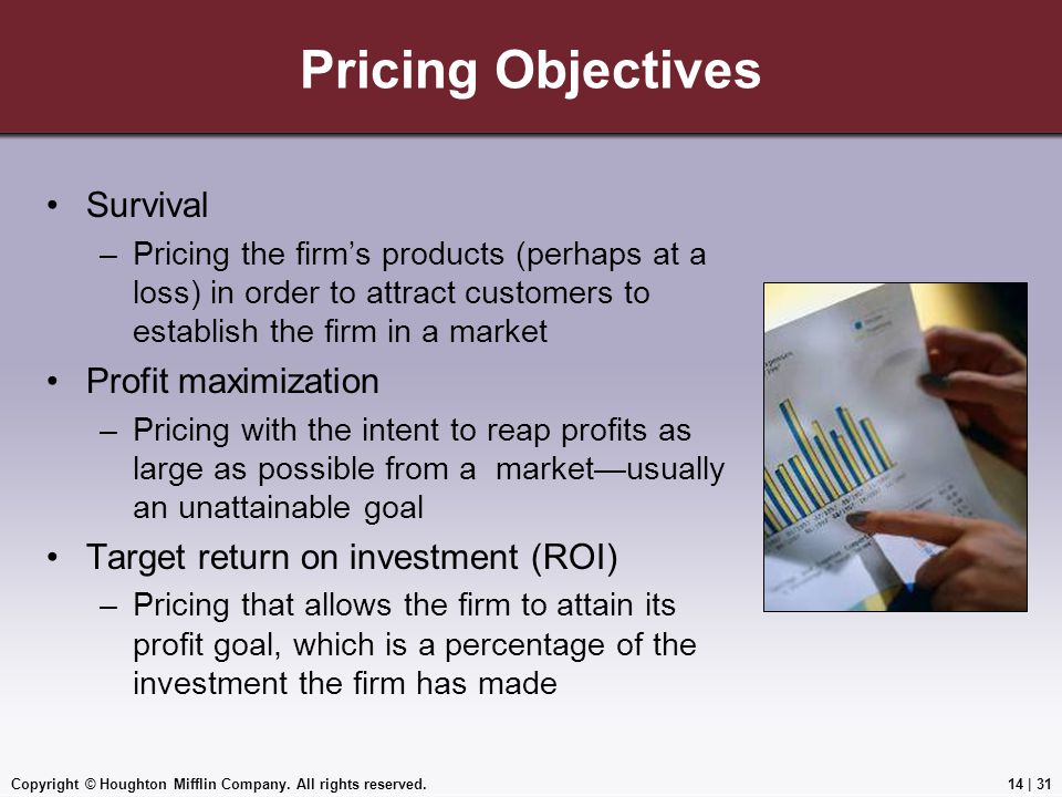 Pricing Objectives Survival Profit maximization