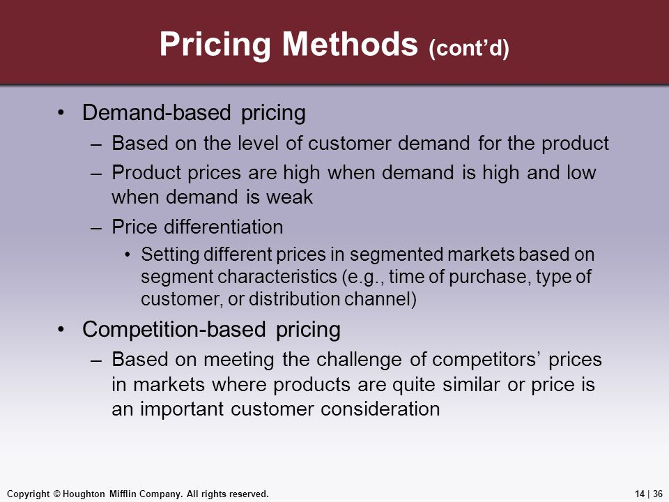 Pricing Methods (cont'd)
