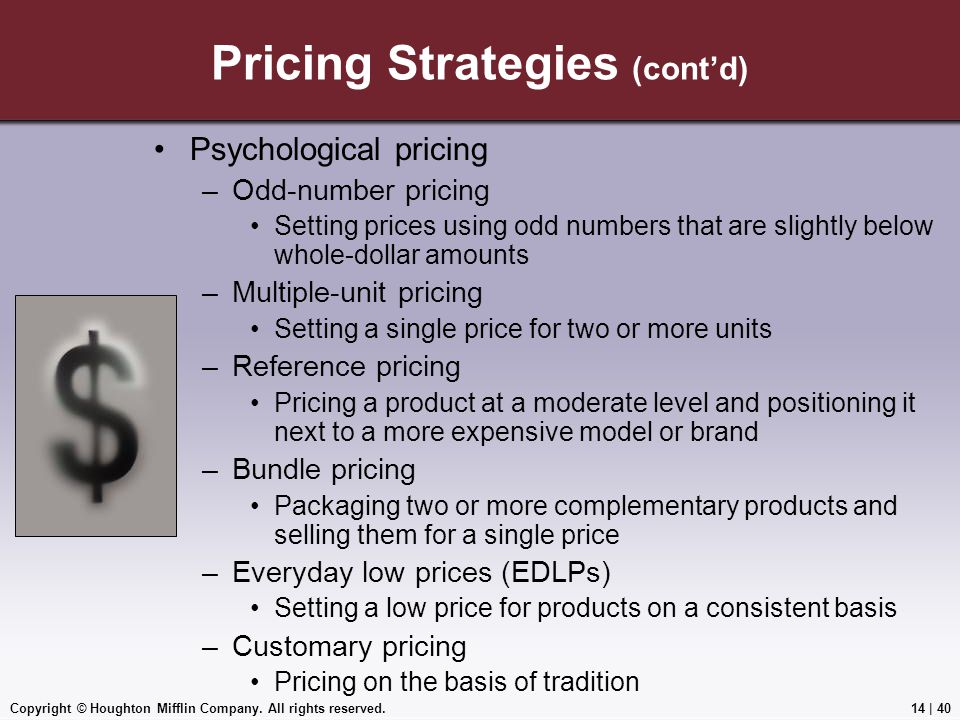 Pricing Strategies (cont'd)