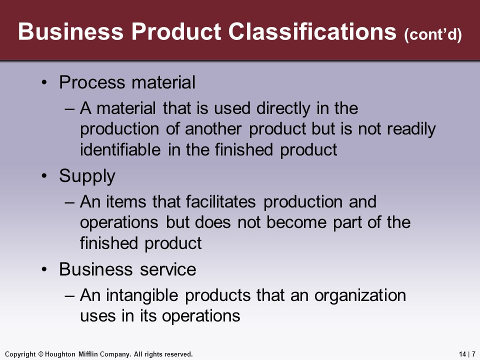 Business Product Classifications (cont'd)
