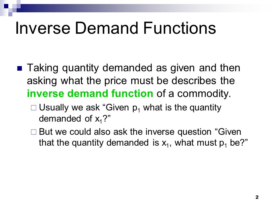 Inverse Demand Functions