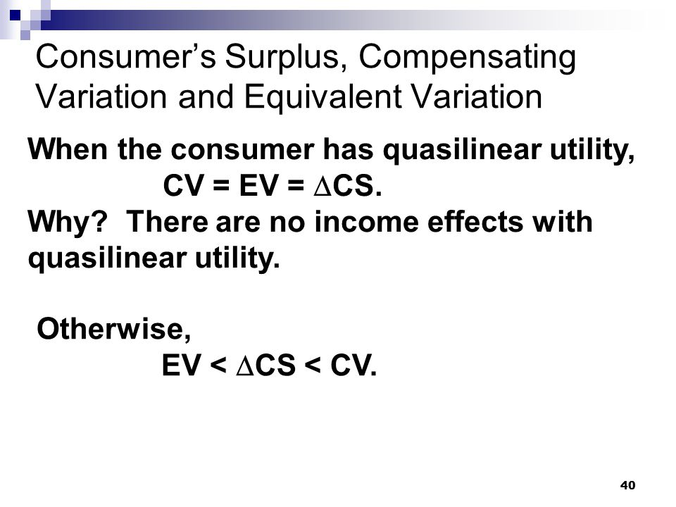 Consumer's Surplus, Compensating Variation and Equivalent Variation