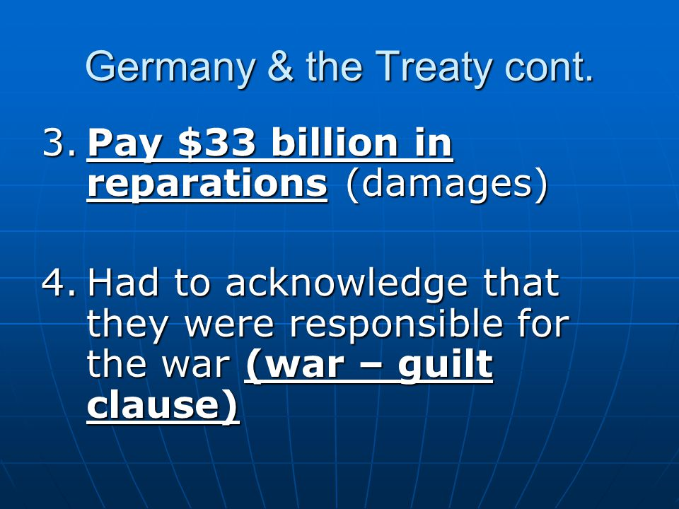 Germany & the Treaty cont.