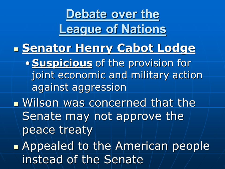 Debate over the League of Nations