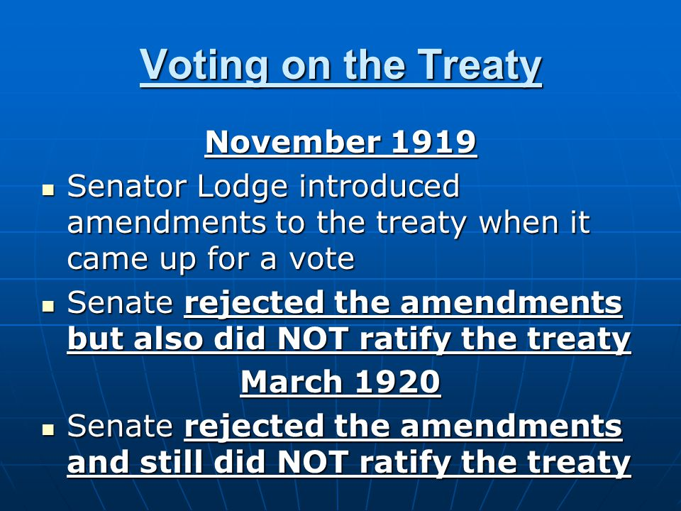 Voting on the Treaty November 1919