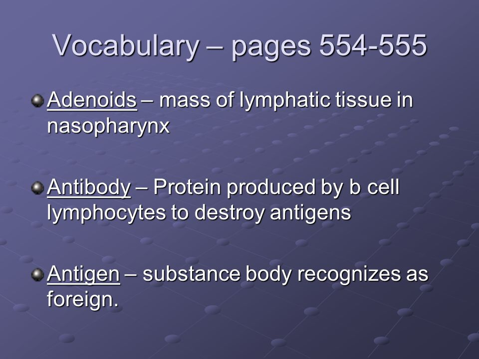 Vocabulary – pages 554-555 Adenoids – mass of lymphatic tissue in nasopharynx. Antibody – Protein produced by b cell lymphocytes to destroy antigens.