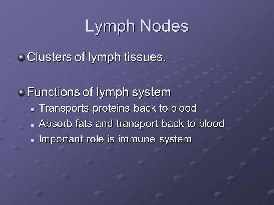 Lymph Nodes Clusters of lymph tissues. Functions of lymph system