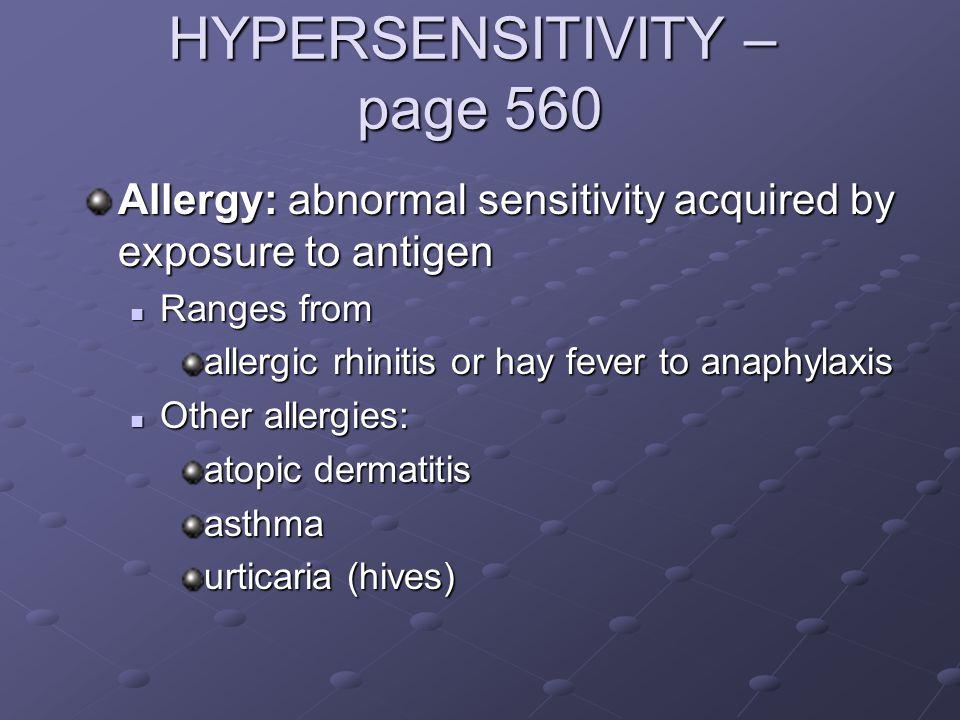 HYPERSENSITIVITY – page 560