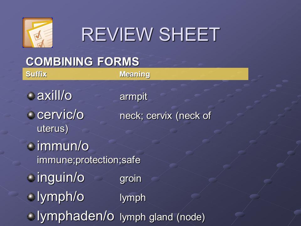 REVIEW SHEET axill/o armpit cervic/o neck; cervix (neck of uterus)