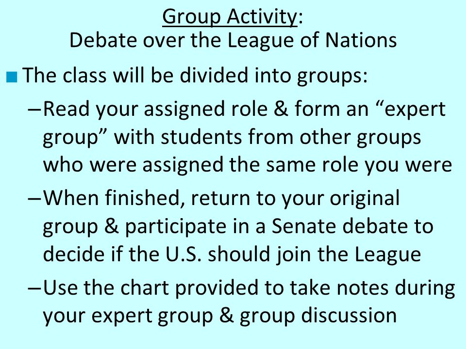 Group Activity: Debate over the League of Nations