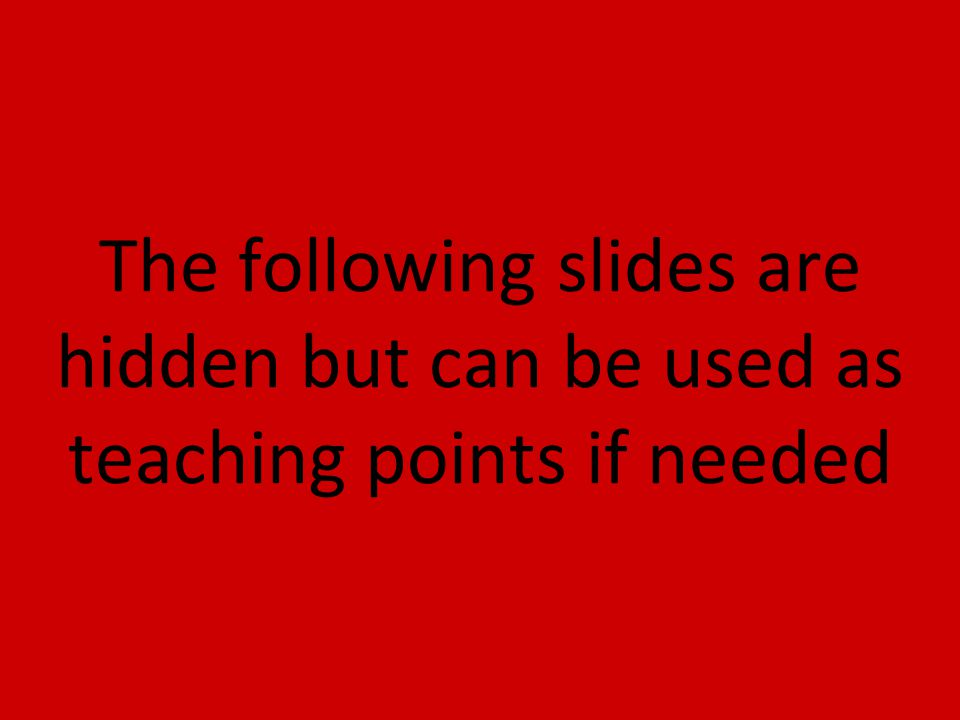The following slides are hidden but can be used as teaching points if needed