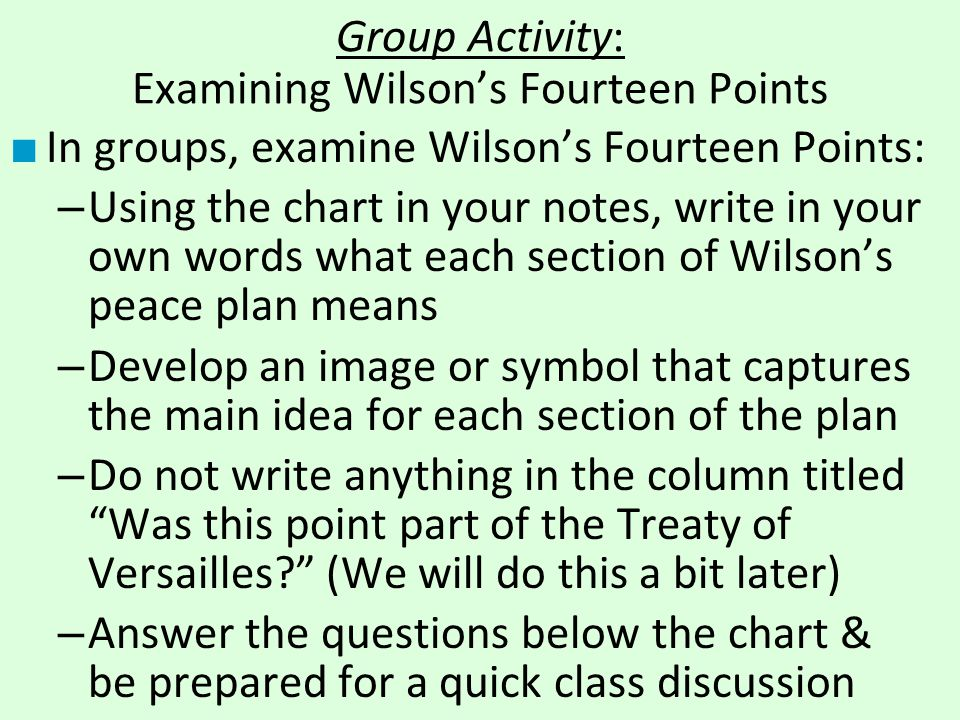 Group Activity: Examining Wilson's Fourteen Points