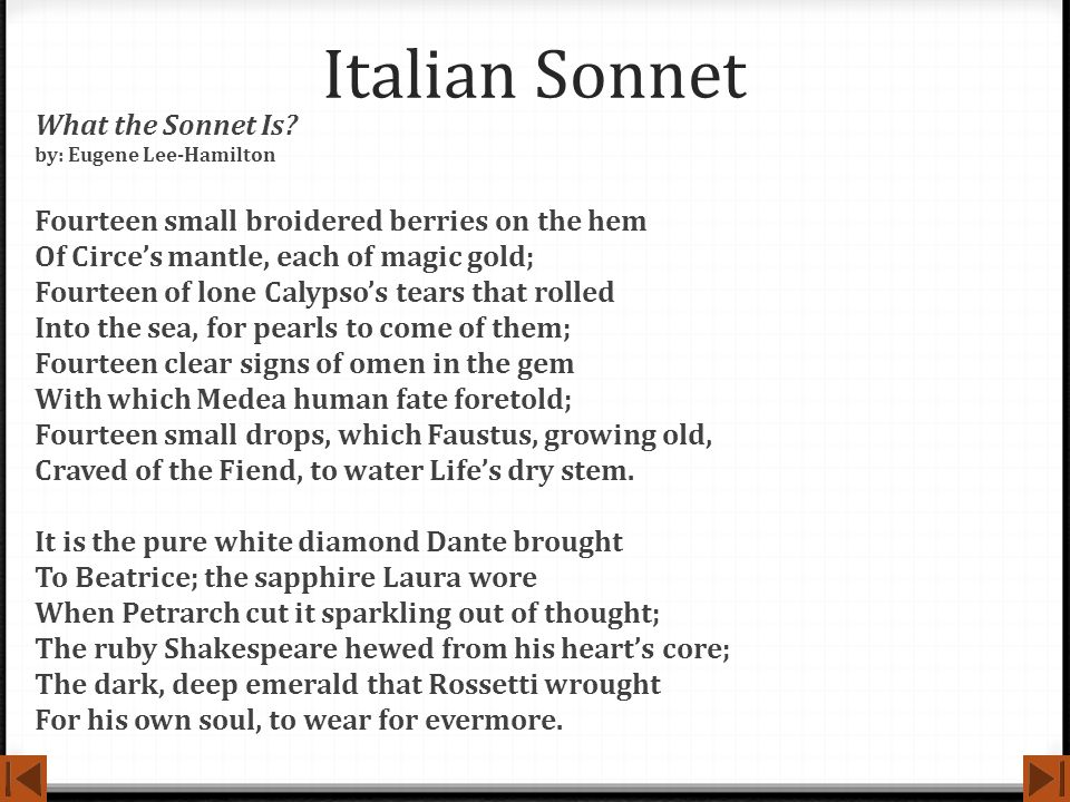 Italian Sonnet What the Sonnet Is