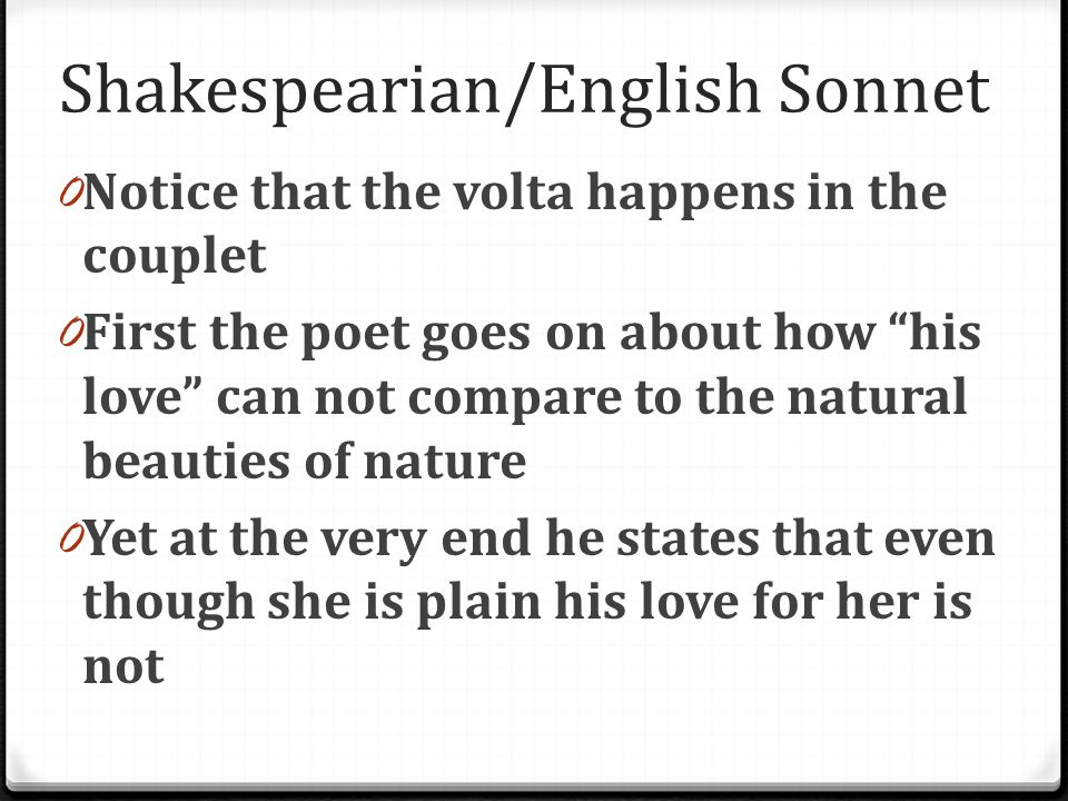 Shakespearian/English Sonnet