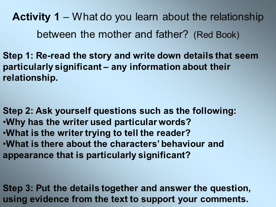 Activity 1 – What do you learn about the relationship between the mother and father (Red Book)