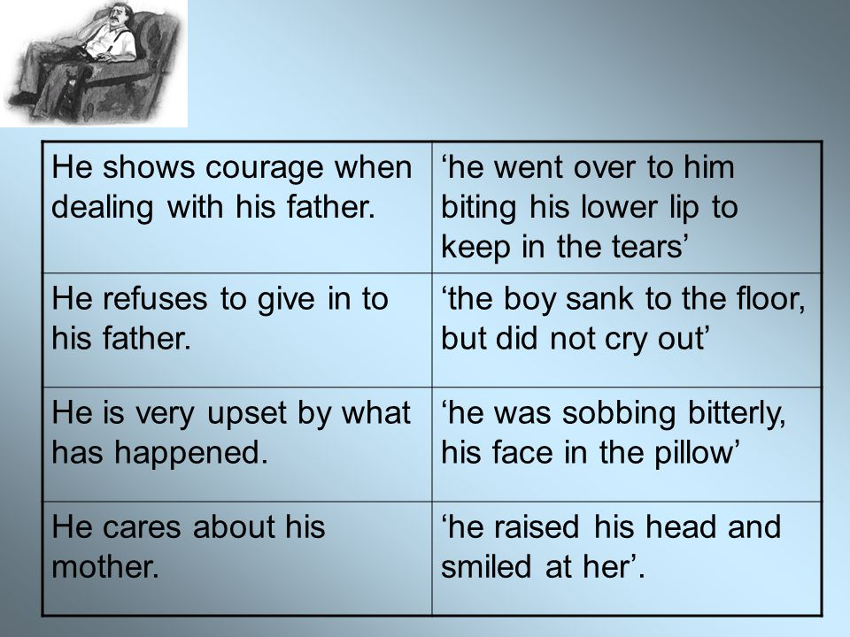He shows courage when dealing with his father.