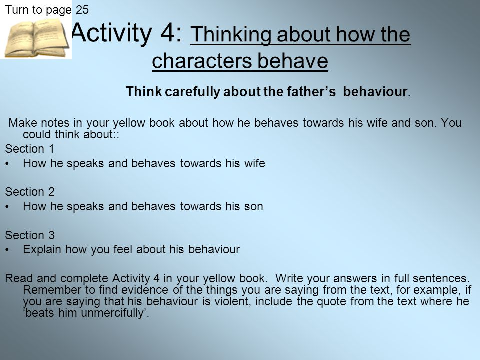 Activity 4: Thinking about how the characters behave