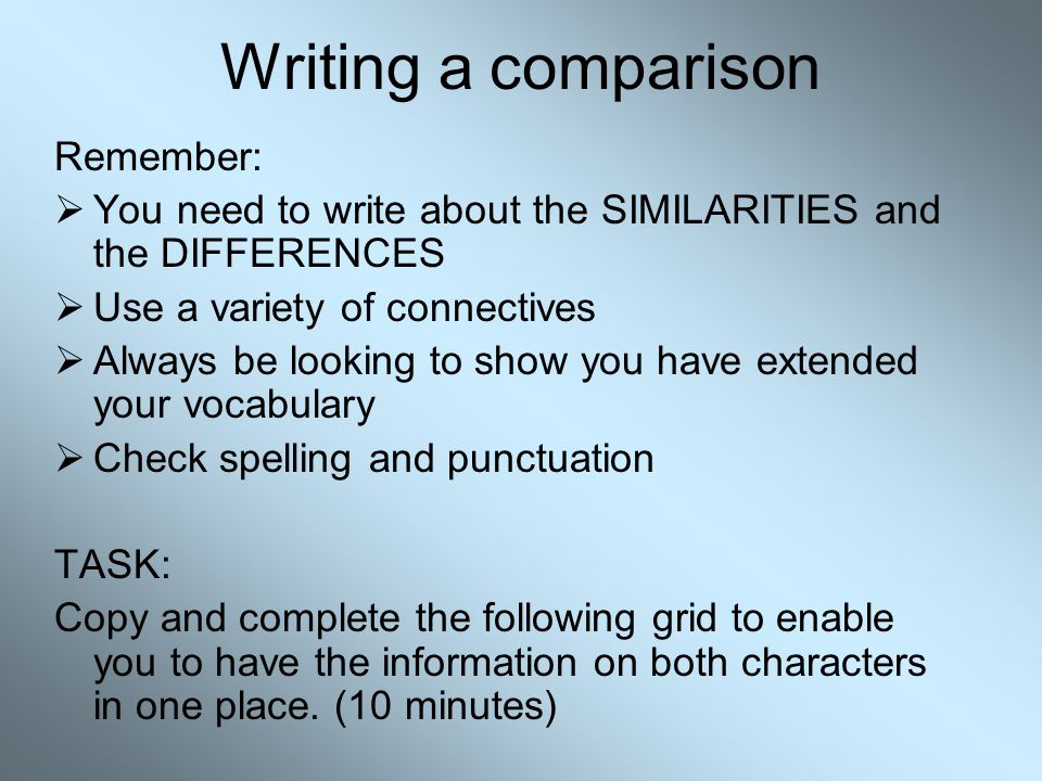 Writing a comparison Remember: