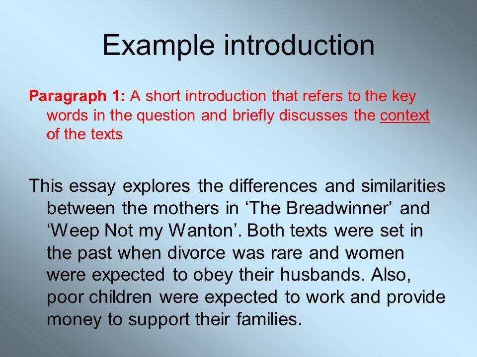 Introduction Paragraph Of A Comparison Essay Even