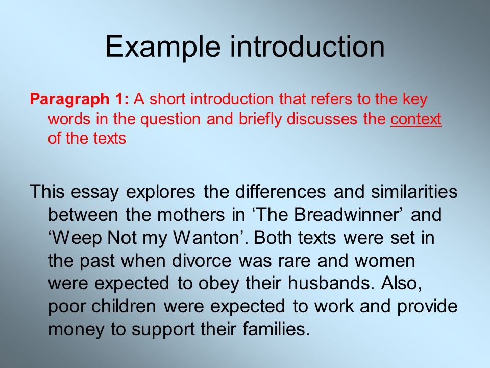 Example introduction Paragraph 1: A short introduction that refers to the key words in the question and briefly discusses the context of the texts.