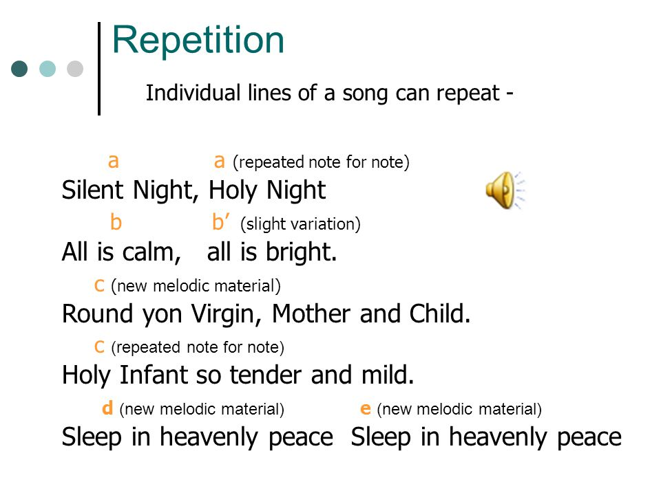 Individual lines of a song can repeat -