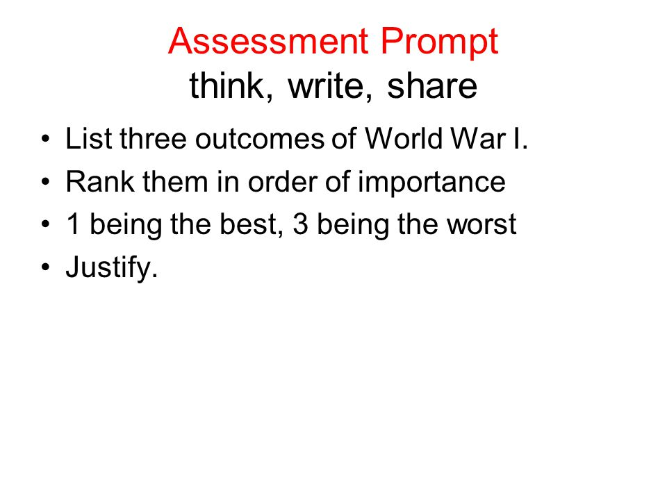 Assessment Prompt think, write, share