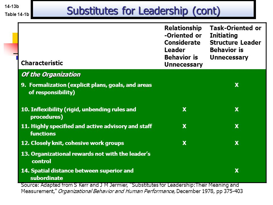 Substitutes for Leadership (cont)