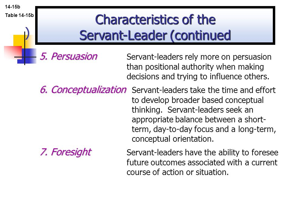Characteristics of the Servant-Leader (continued