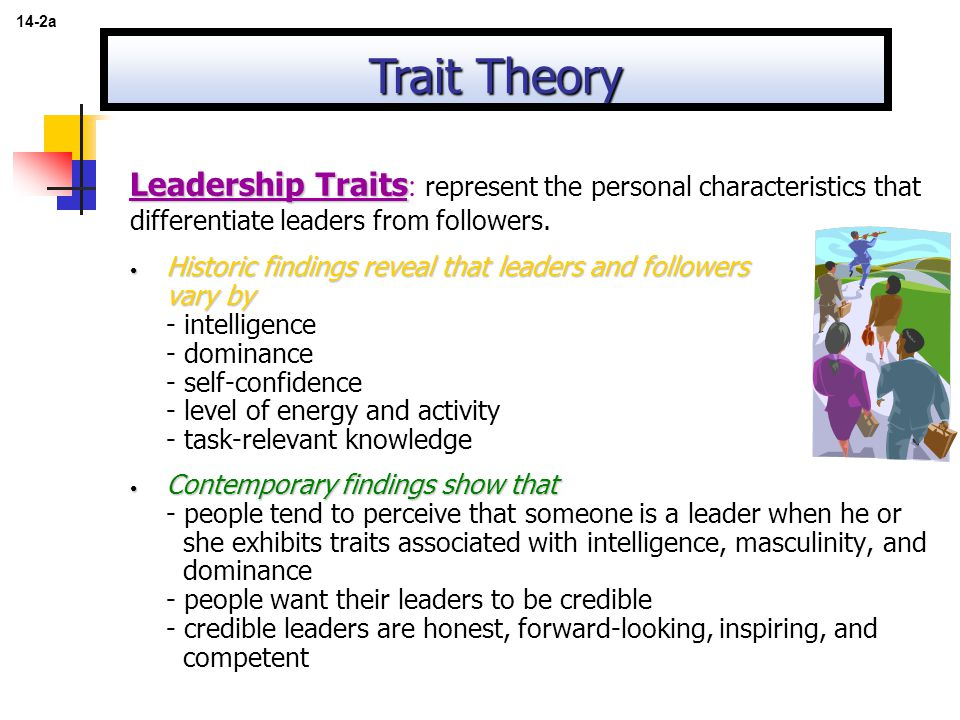 14-2a Trait Theory. Leadership Traits: represent the personal characteristics that differentiate leaders from followers.