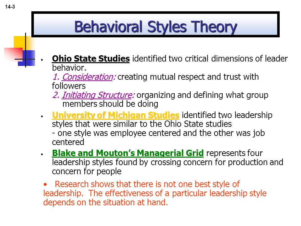 Behavioral styles