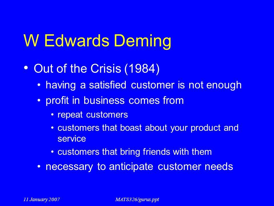 W Edwards Deming Out of the Crisis (1984)