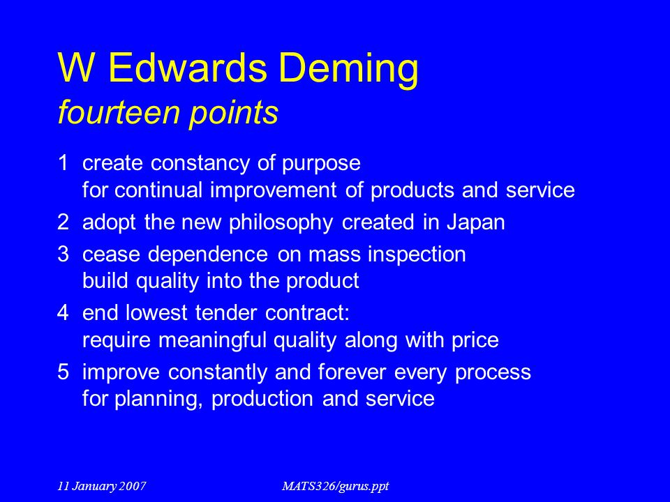 W Edwards Deming fourteen points