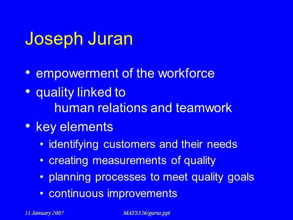 Joseph Juran empowerment of the workforce