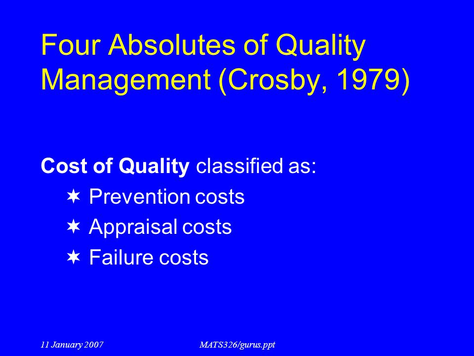 Four Absolutes of Quality Management (Crosby, 1979)