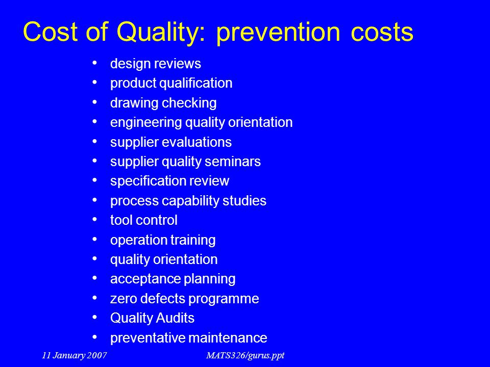 Cost of Quality: prevention costs