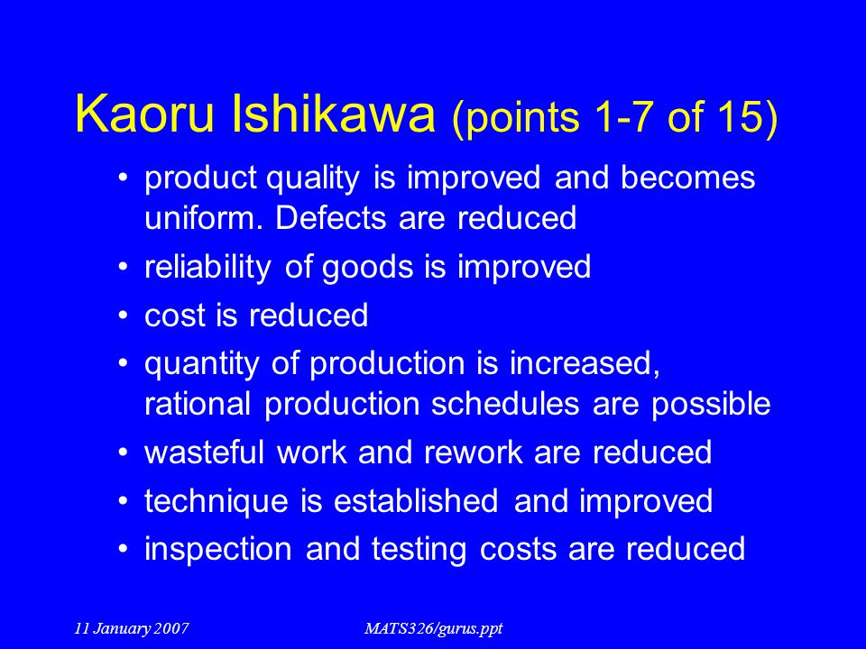 Kaoru Ishikawa (points 1-7 of 15)