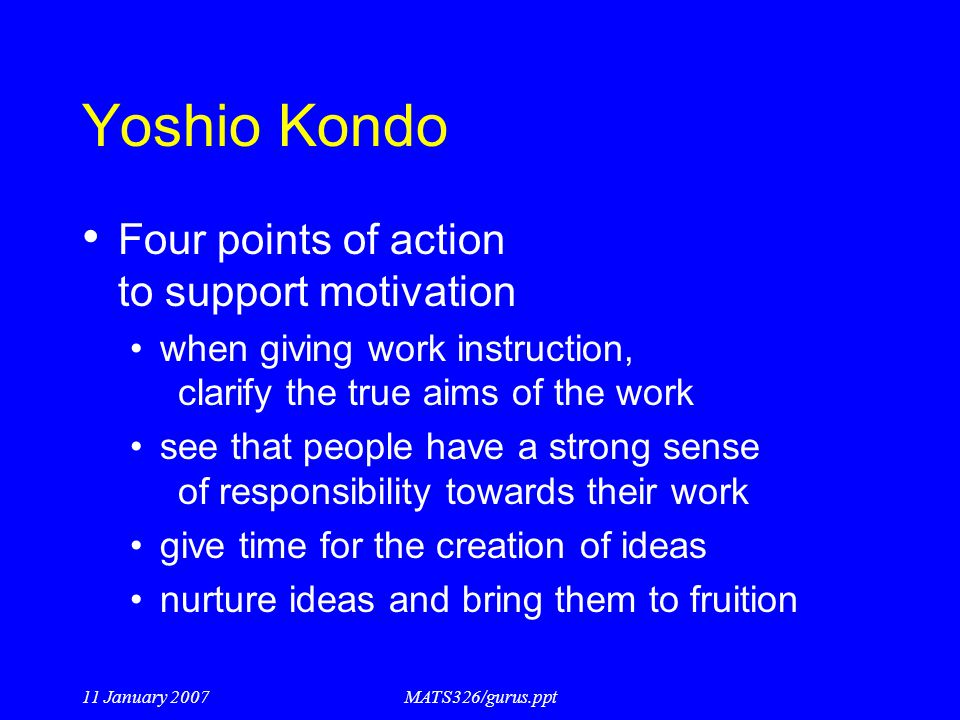 Yoshio Kondo Four points of action to support motivation