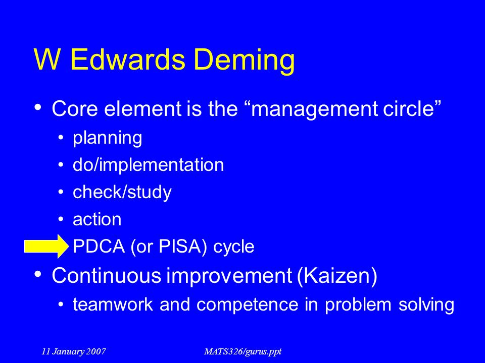 W Edwards Deming Core element is the management circle