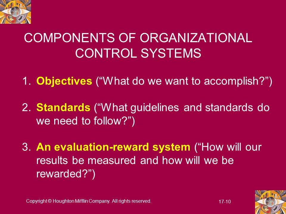 COMPONENTS OF ORGANIZATIONAL CONTROL SYSTEMS