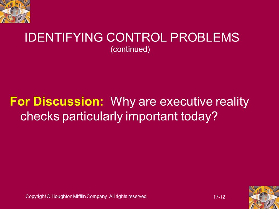 IDENTIFYING CONTROL PROBLEMS (continued)